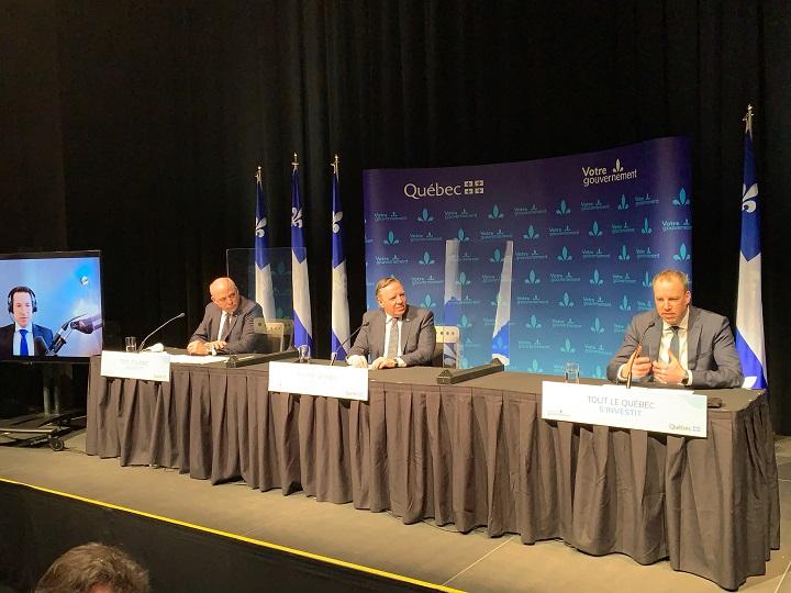 Quebec Premier François Legault announces $54 million investment in information technology firm AppDirect. Thursday, March 18, 2021.