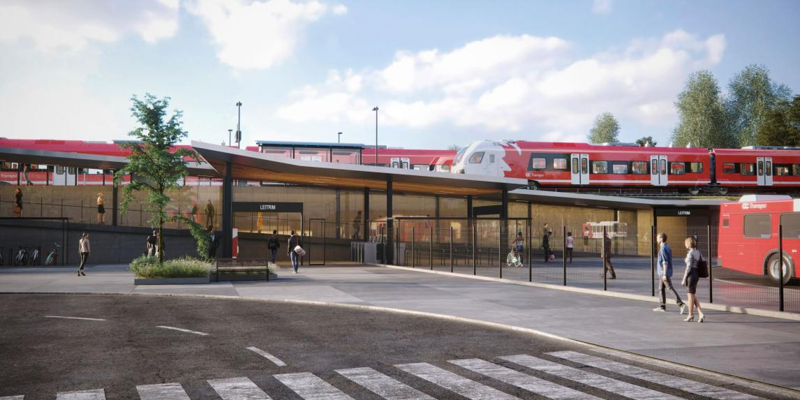 A rendering of Leitrim Station along the southern extension of Ottawa's light-rail transit system.
