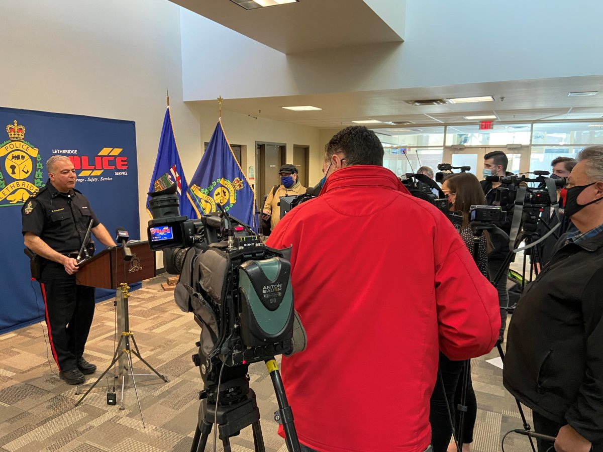Lethbridge police Chief Shahin Mehdizadeh hosted a press conference on Wednesday, March 10, 2021.