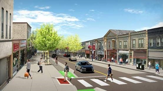 A rendering of the new Dundas streetscape looking west from Elizabeth Street.
