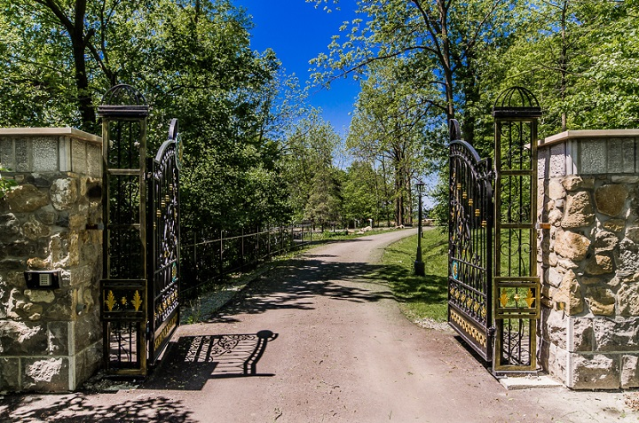 A long driveway leads to the 20-room mansion in Senneville.
