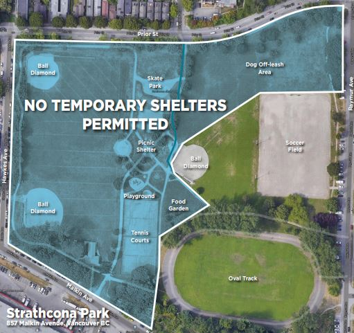 A map provided by the Vancouver Park Board showing the areas where tents and structures will no longer be permitted.