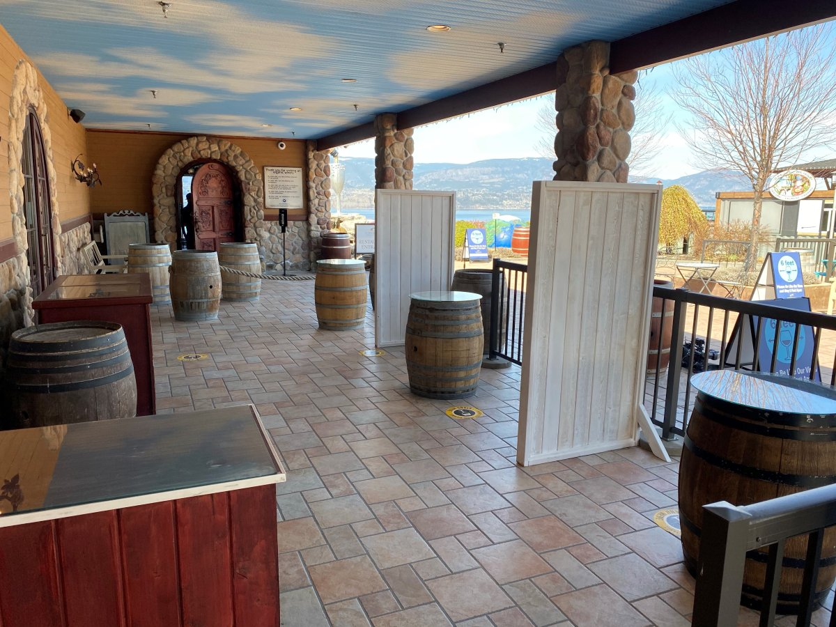 At Summerhill Pyramid Winery in Kelowna, B.C., additional outdoor wine tasting stations are erected, in the wake of new COVID-19 restrictions in B.C.