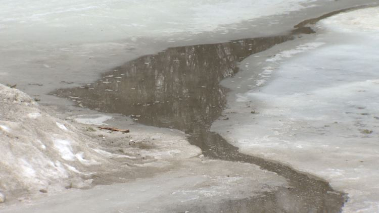 Thinning ice on the Assiniboine River on March 7, 2021.