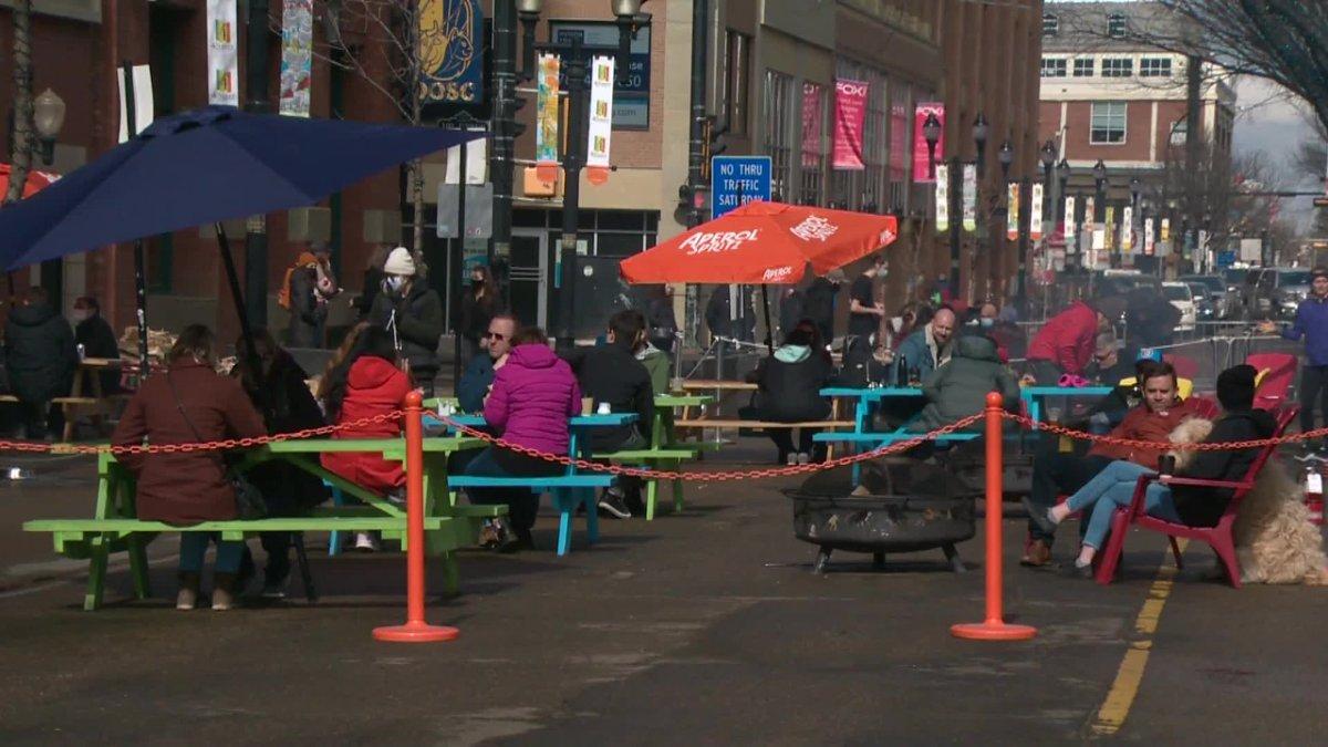 A pop-up street patio on 104 Street in downtown Edmonton.