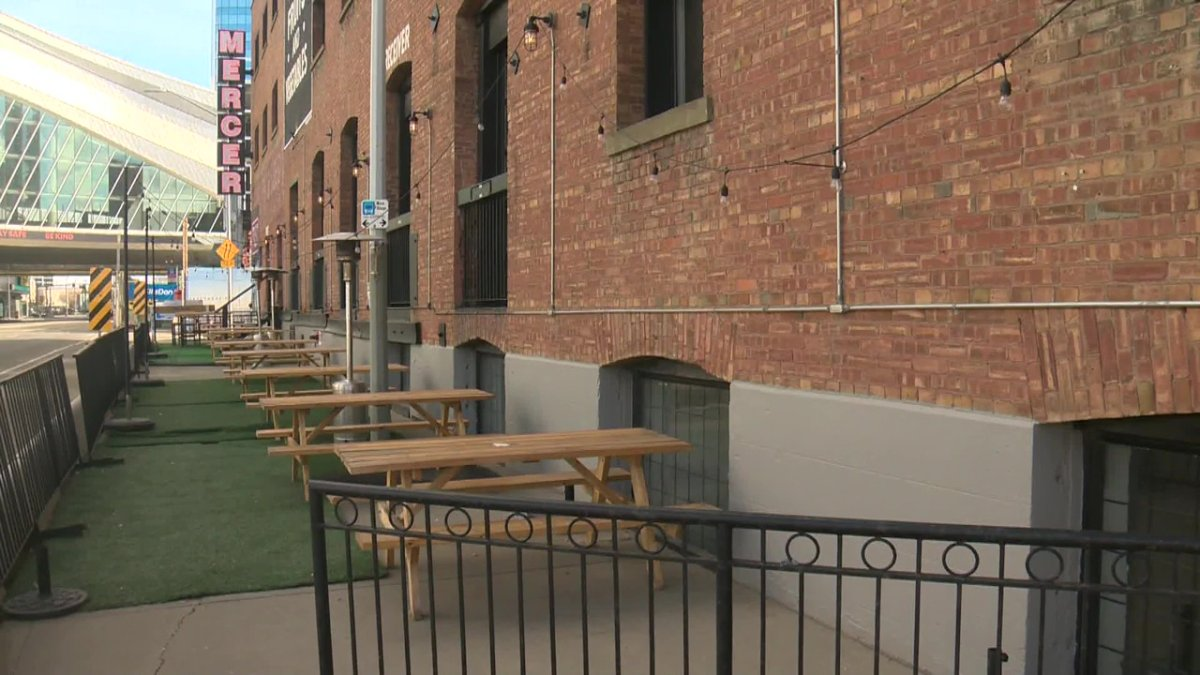 The patio at Mercer Tavern near 104 Street and 104 Street in downtown Edmonton.
