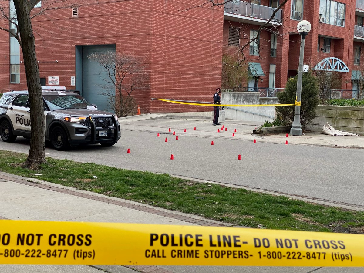 The scene where a 14-year-old boy has been taken to hospital after being shot in Toronto's west end Saturday evening.
