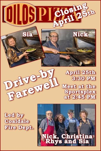A Facebook post reminding Coaldale residents about the farewell for Dilo's Pizza.