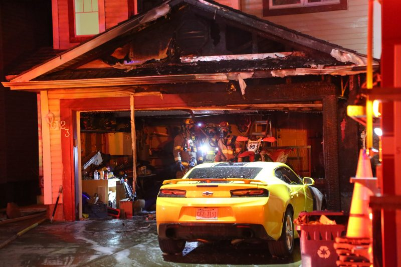 Calgary firefighters respond to a blaze at a home along Mt. Selkirk Close Southeast on Friday, April 30, 2021.