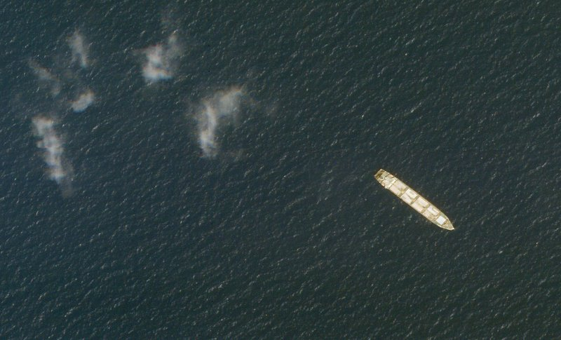 This Oct. 1, 2020, satellite photo from Planet Labs Inc. shows the Iranian cargo ship MV Saviz in the Red Sea off the coast of Yemen. The Iranian cargo ship, believed to be a base for the paramilitary Revolutionary Guard that has been anchored for years in the Red Sea off Yemen, has been attacked, Iranian state television acknowledged Wednesday, Wednesday, April 7, 2021.