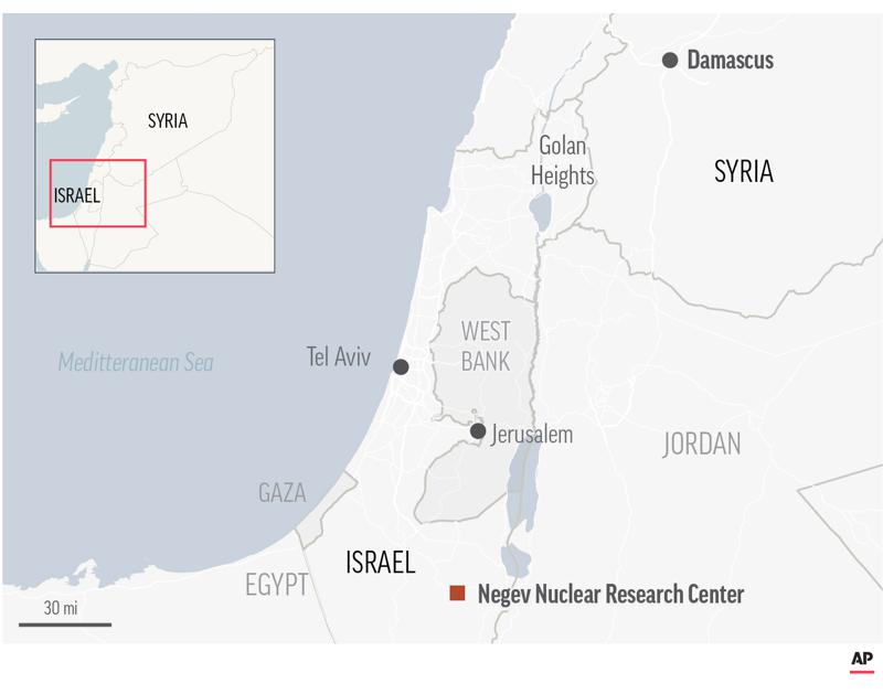 Map locates Negev Nuclear Research Center.