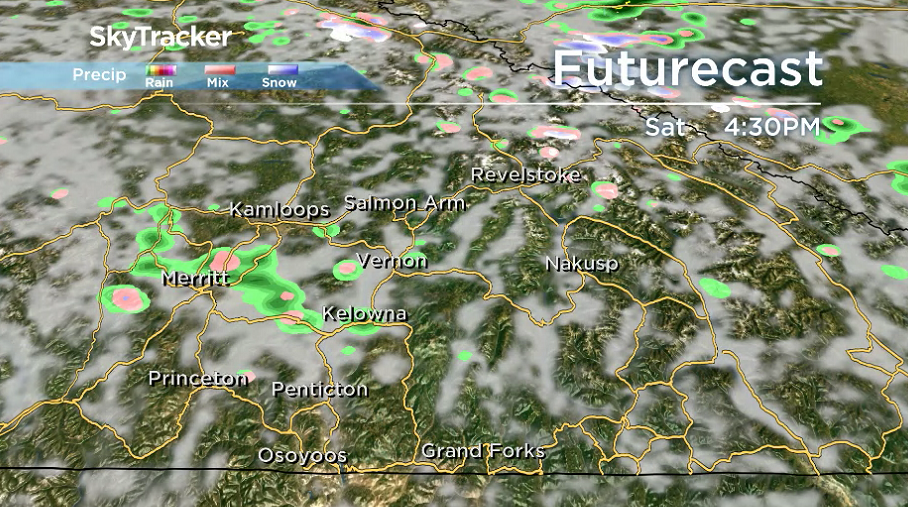 A chance of showers slides into the Okanagan for the first day of May on Saturday.