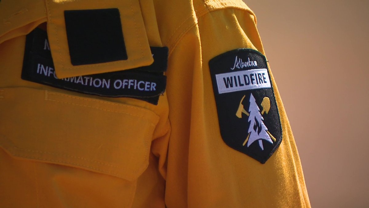 An Alberta Wildfire officer on Friday, April 16, 2021.