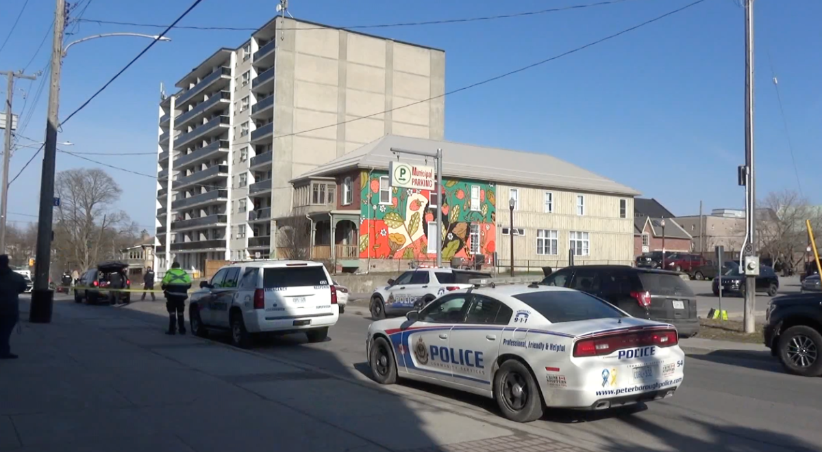 Brock Street is closed as Peterborough police negotiate with a distressed man at Brock Towers on Tuesday morning.
