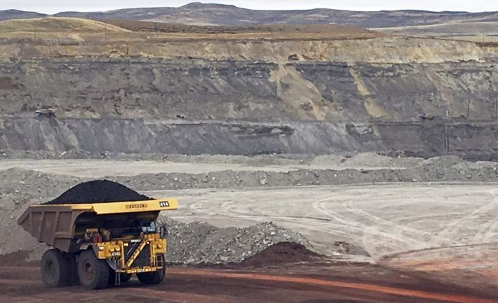 In this March 28, 2017, file photo, a dump truck hauls coal at Contura Energy's Eagle Butte Mine near Gillette, Wyo.
