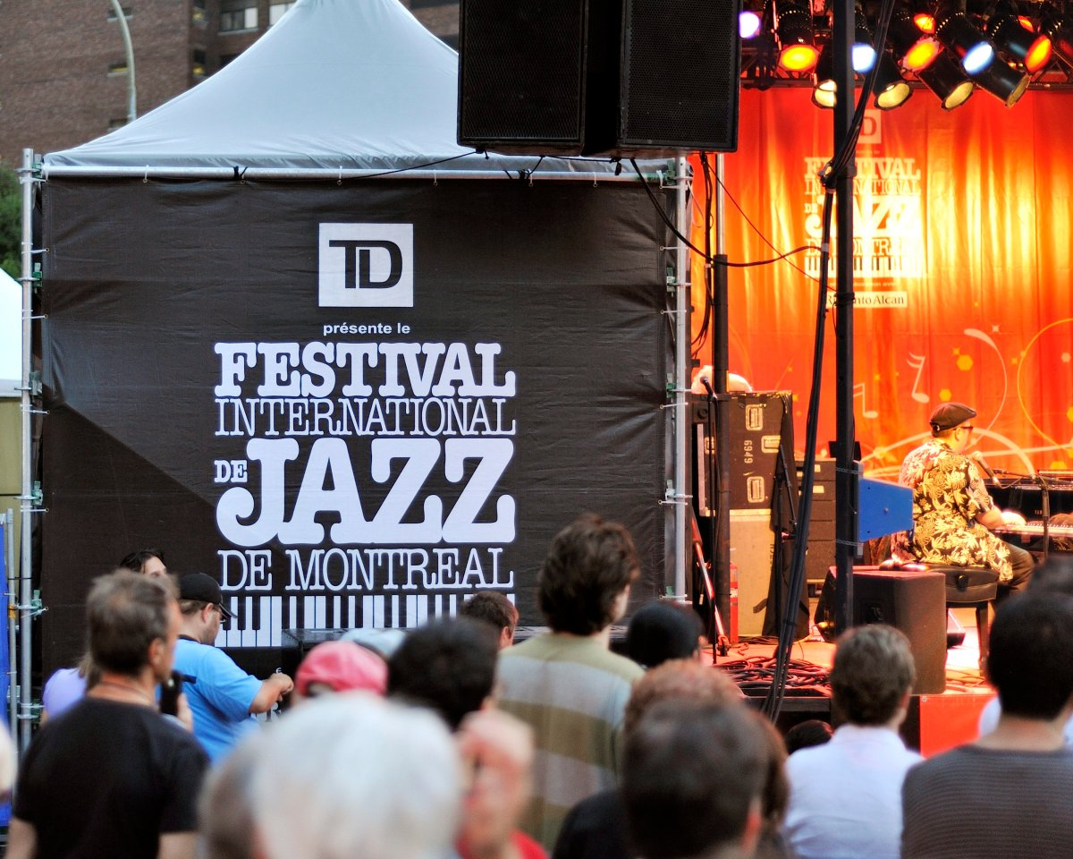 A crowd at the Montreal Jazz Festival listening to a concert, Montreal, Que.. June 28, 2012.