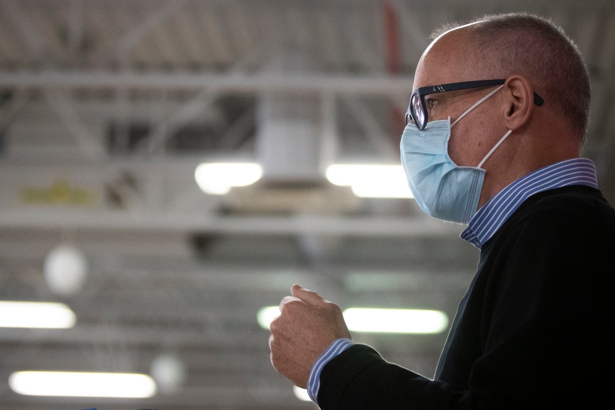 Medical officer of Health for Kingston, Frontenac, Lennox and Addington health unit, Dr. Kieran Moore speaks with the media at the Strathcona Paper Centre in Napanee, Ontario, on Monday March 15, 2021. The centre will be used as a  immunization clinic for the Napanee area.