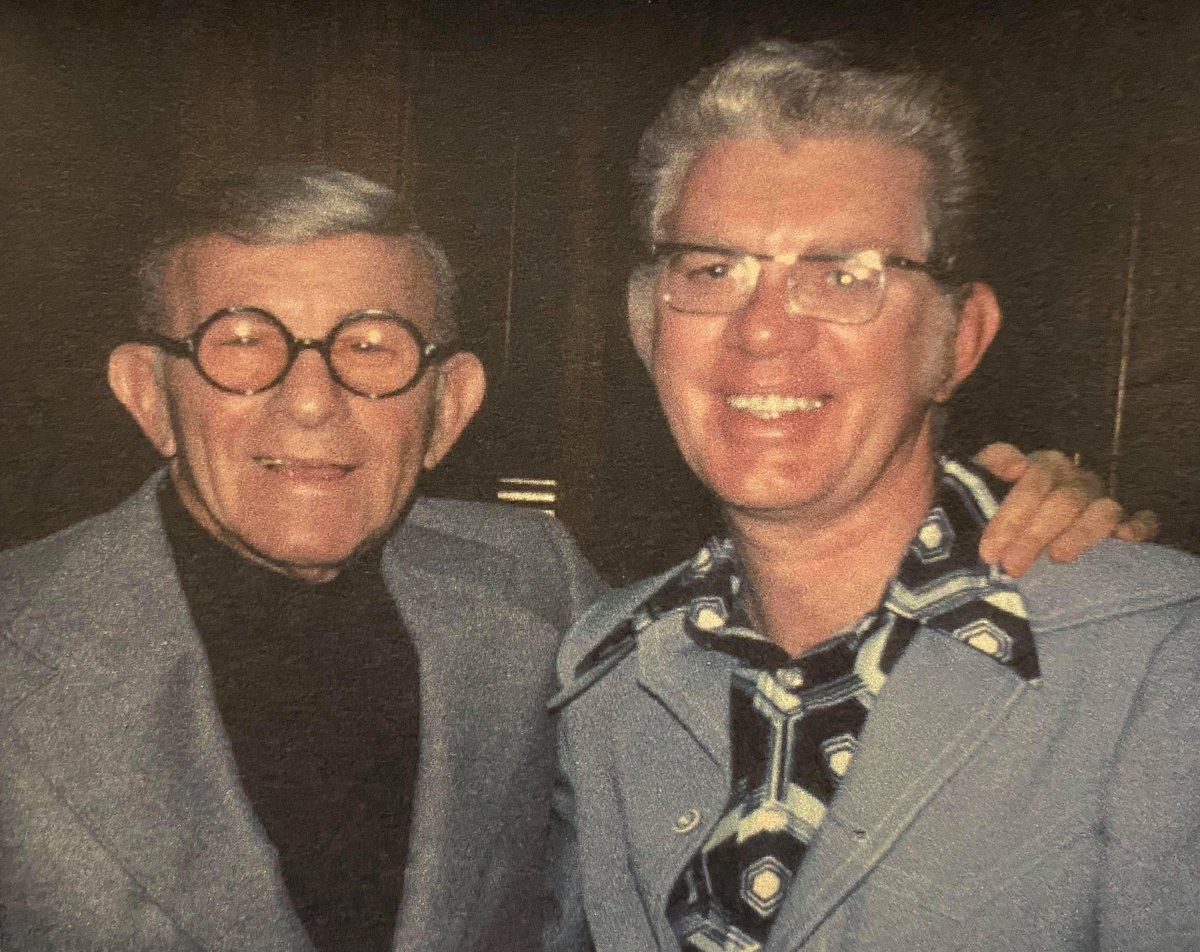 """Ottawa radio personality Gord Atkinson, right, poses with comedian George Burns in an undated handout photo. Atkinson, who exposed the world to a young Paul Anka and rubbed elbows with Elvis Presley on his popular """"Campus Corner"""" show, has died at 94."""