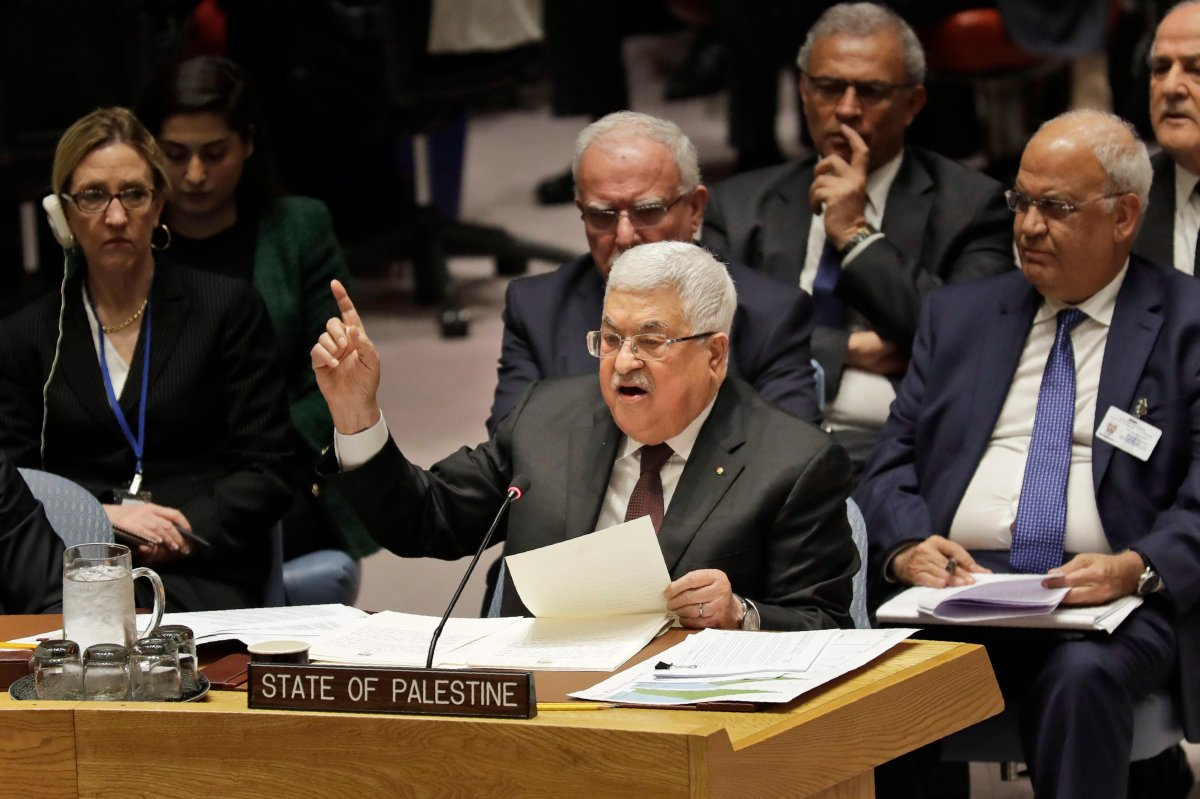 Palestinian President Mahmoud Abbas speaks during a Security Council meeting at United Nations headquarters, Tuesday, Feb. 11, 2020.