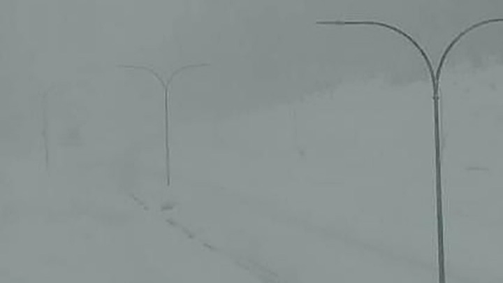 Weather conditions at the Zopkios rest area near the summit of the Coquihalla Highway on Saturday morning.