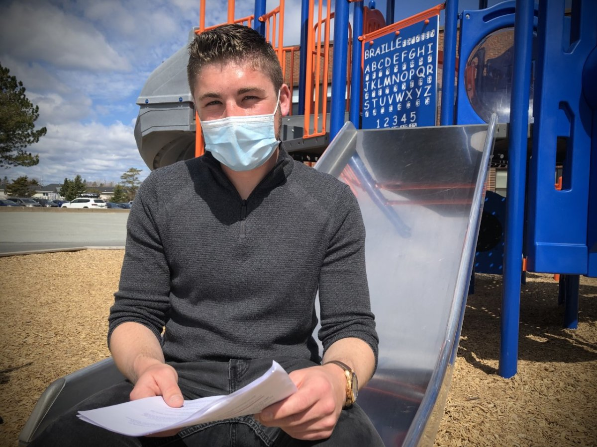 Corey Myers is an early childhood educator at the Tallahassee Early Learning Centre in Eastern Passage, N.S. He's seen here on April 28, 2021 -- one day after the provincial government announced daycares would remain open during the third wave of the pandemic.