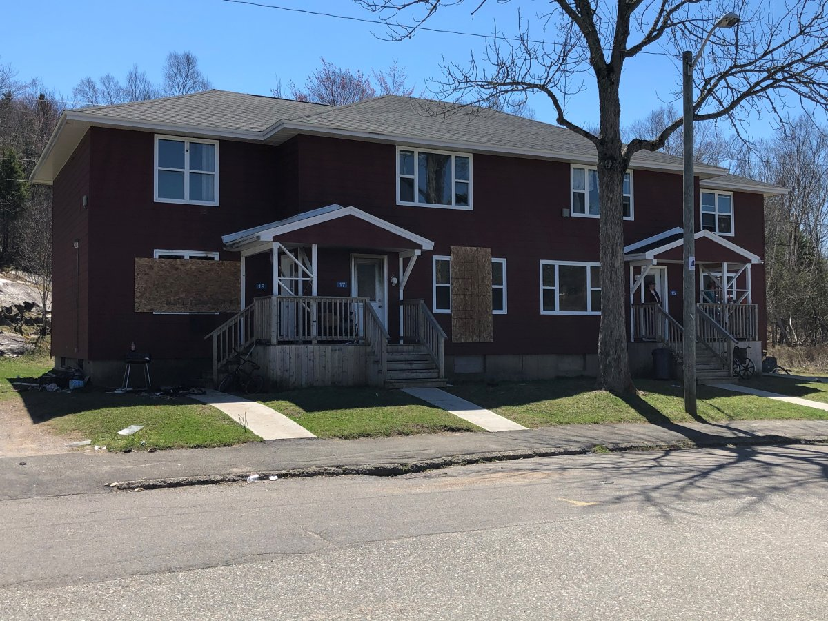 A fire damaged this four-unit apartment building in Saint John, N.B., on Wednesday, April 28, 2021.