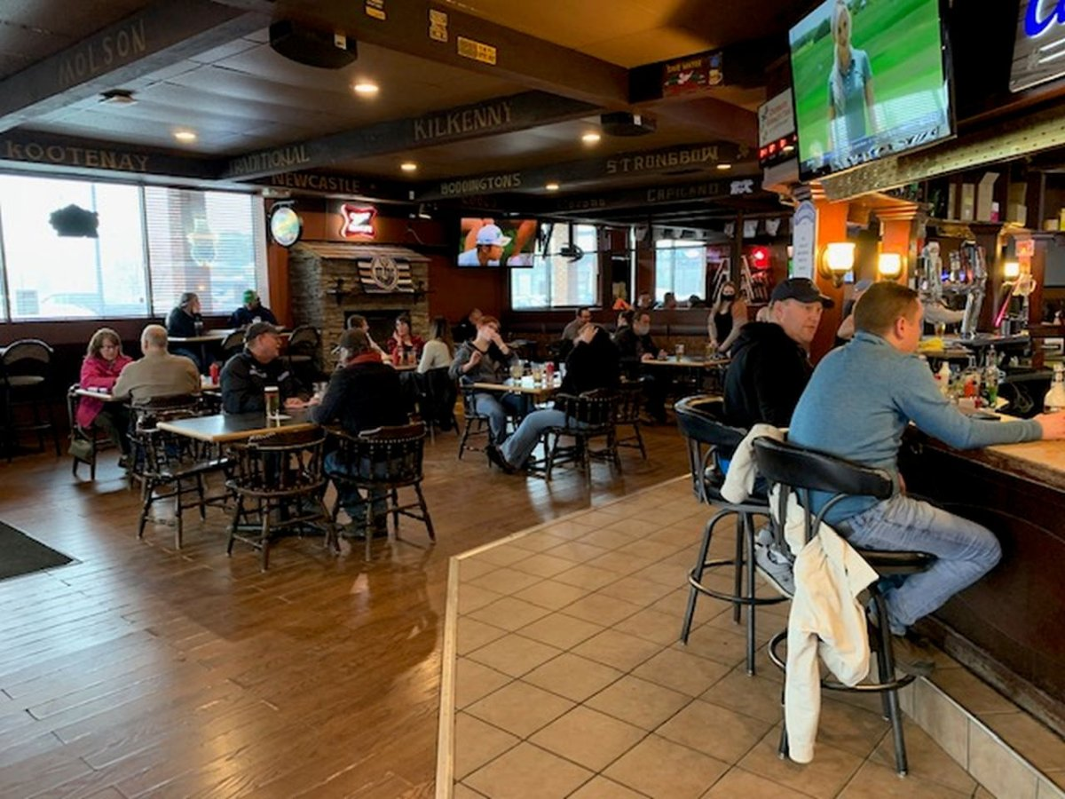 Edmonton's Crown and Anchor Pub and Grill defies provincial COVID-19 measures by remaining open for in-person dining, Saturday, April 10, 2021.
