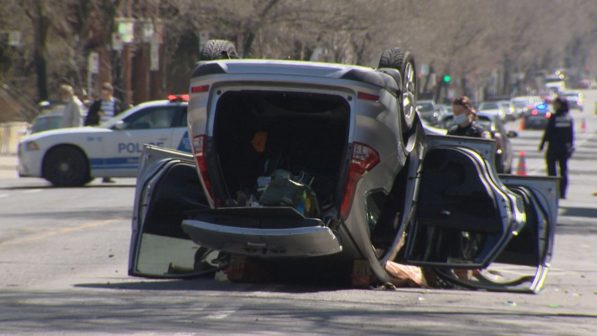 A 33-year-old cyclist is dead after he was struck as a vehicle flipped over at the intersection of Papineau Avenue and St-Joseph Boulevard. Thursday, April 7, 2021.
