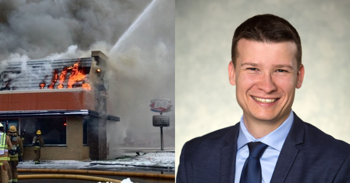 Left: Fire consuming the Dairy Queen at 1906 Centre A Street NE in Calgary, Alta. in October 2019, and right: Calgary Ward 11 councillor  Jeromy Farkas.
