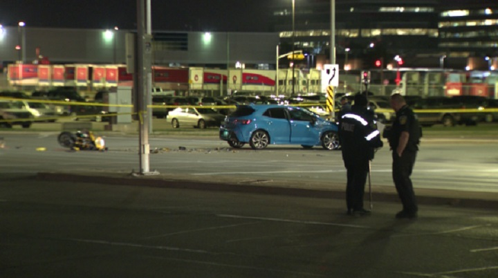 The scene of a crash between a car and a motorcycle in Mississauga's east end.