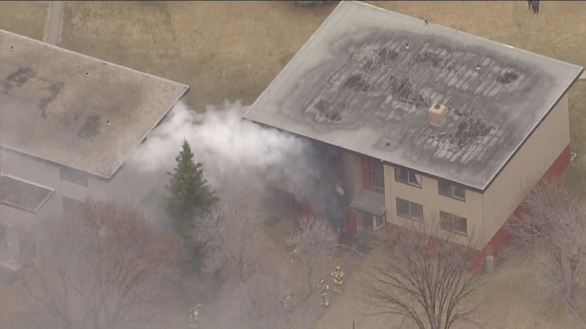 Edmonton Fire Rescue Services said crews were called just before 7:30 a.m. to an apartment fire at 87 Street and 97 Avenue on April 28, 2021.