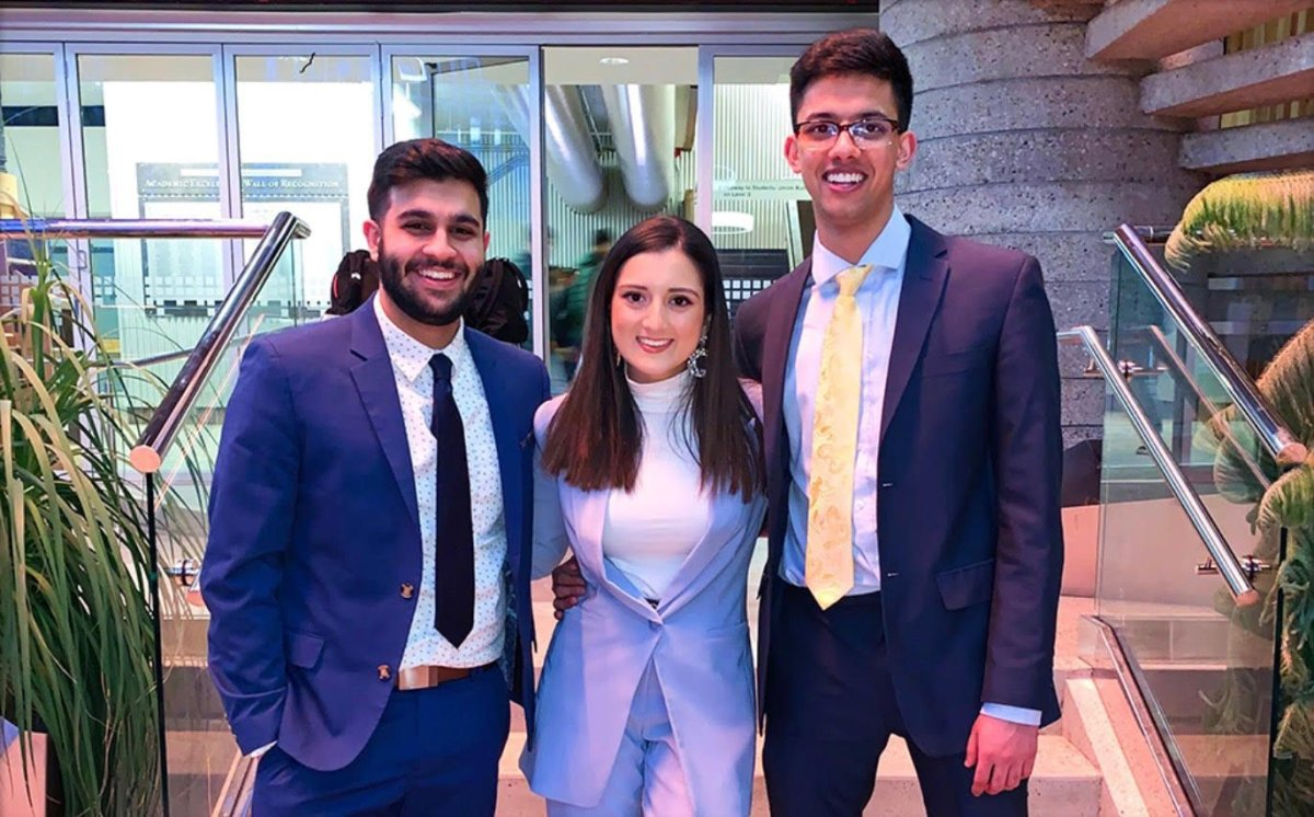 University of Alberta science students Simran Dhillon, Adarsh Badesha and Ajay Gill are working on a technology that could reduce fentanyl overdoses.