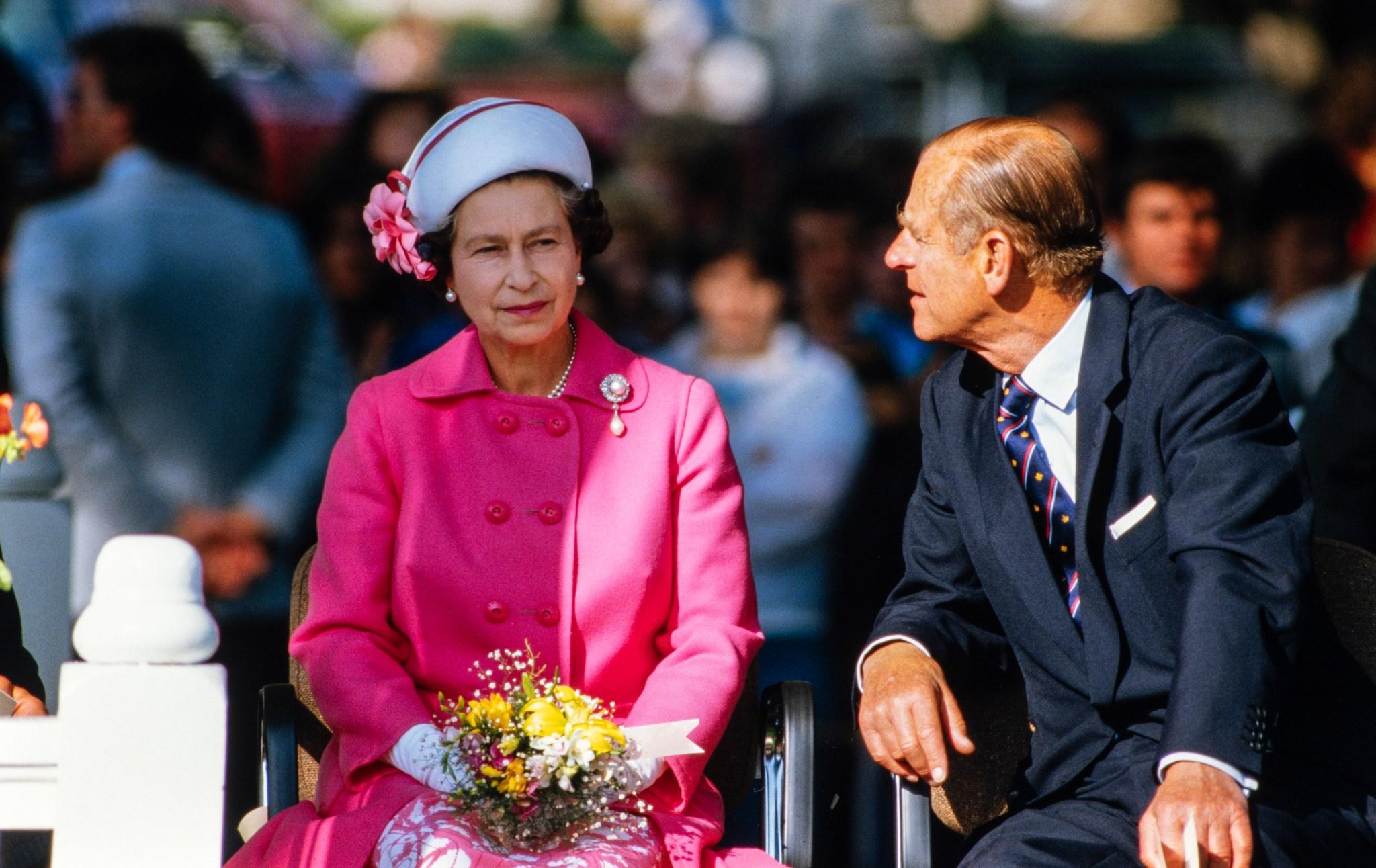 Queen Elizabeth II and Prince Philip in Wilmot Park, Fredericton, N.B., Canada, Sept. 25, 1984.
