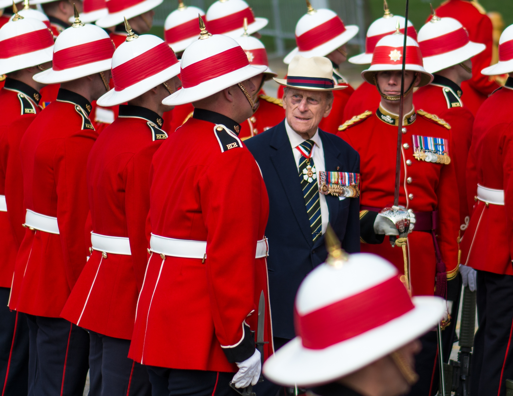 Prince Philip visits Canada to present the new Colours to the 3rd Battalion of the Royal Canadian Regiment. The ceremony takes place in front of the Queen's Park Legislative Assembly of Ontario.