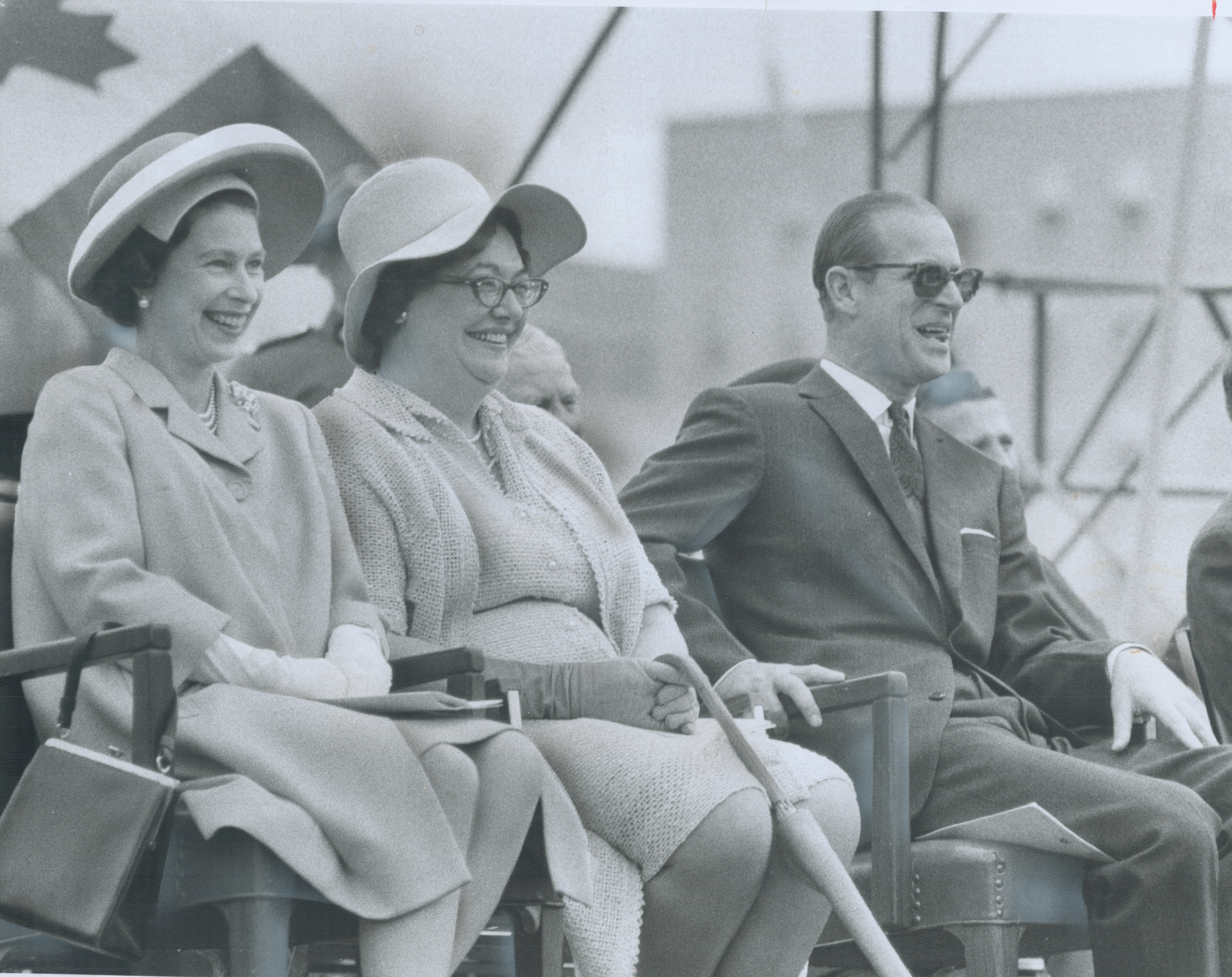 Queen Elizabeth II, State Secretary Judy LaMarsh and Prince Philip really had a ball at the Parliament Hill folk art concert in Ottawa on July 1, 1967.