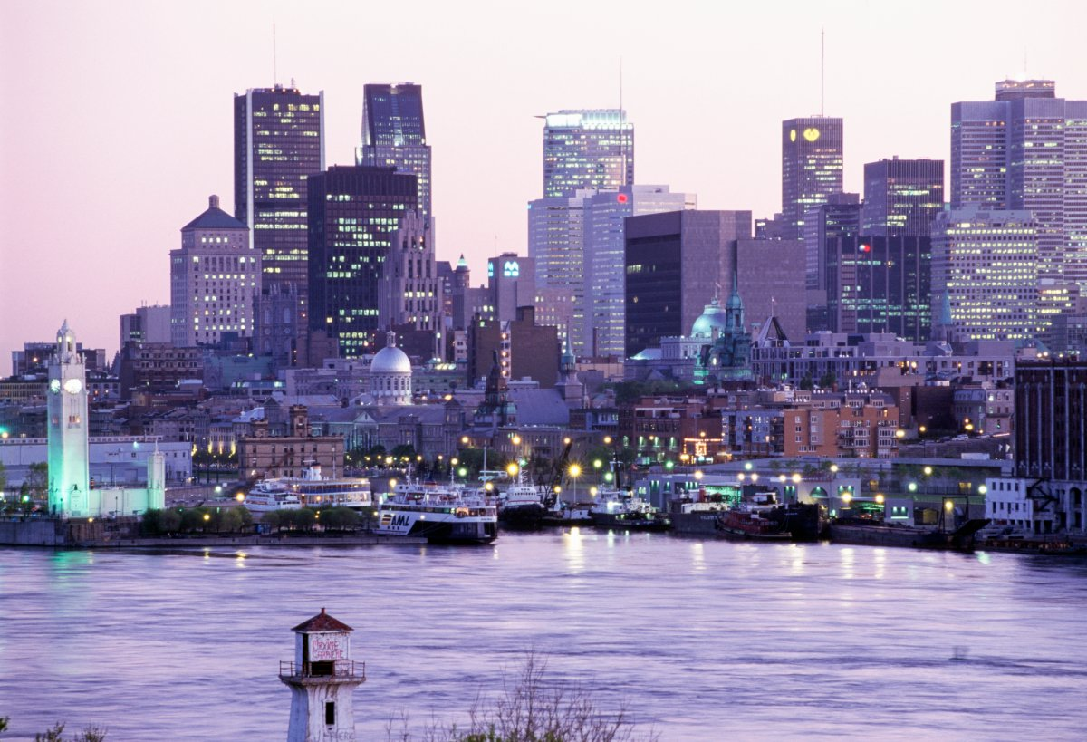 View of Montreal at sunset in January 2021 in Quebec, Canada.