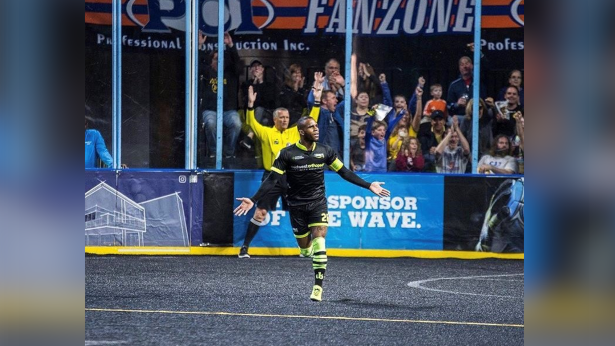 Canadian Ian Bennett, a star forward with the Milwaukee Wave of the MASL, celebrates a goal in an undated handout photo. Bennett, named MVP of the Major Arena Soccer League this season, leads Canada's roster for the CONCACAF Futsal Championship next month in Guatemala.