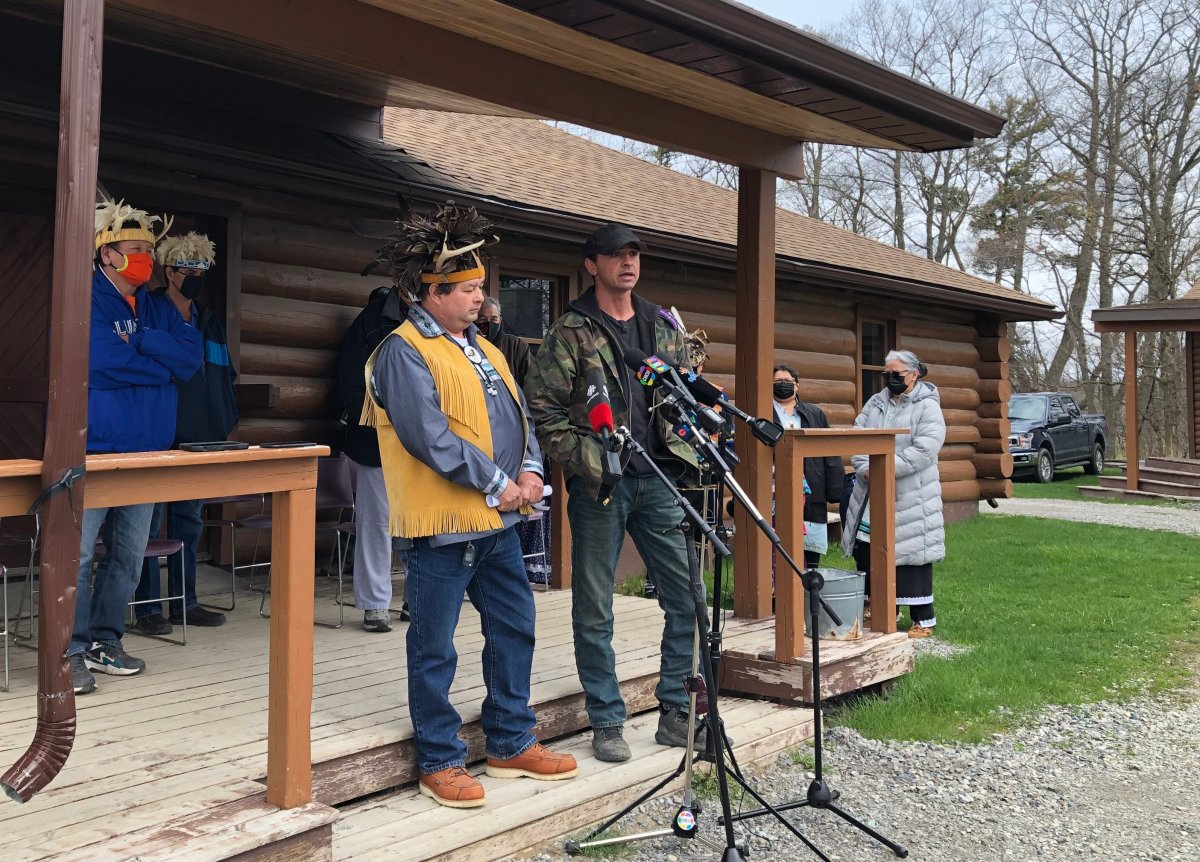 Cayuga Snipe chief Deyohowe:to and 1492 Land Back Lane spokesperson Skyler Williams address reporters during an announcement of a moratorium on development within the Haldimand Tract.