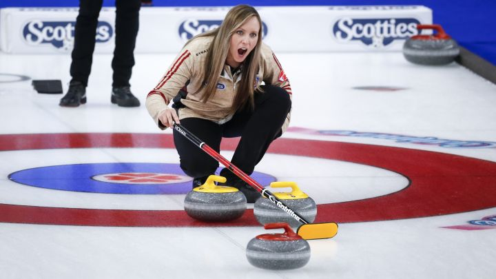 Team Ontario skip Rachel Homan directs her team against Team Canada in the final at the Scotties Tournament of Hearts in Calgary, Alta., Sunday, Feb. 28, 2021.