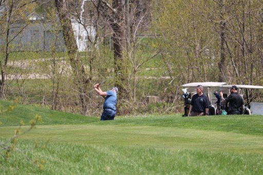 People playing golf in defiance of the province's stay-at-home order at The Bridges at Tillsonburg. April 24, 2021