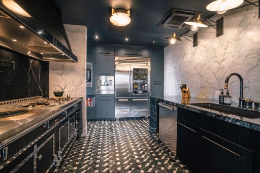There is over $1,000,000 worth of marble in this home, over $1,000,000 of custom furniture, and the Gaganeau & La Cornue kitchen is worth over $500,000.