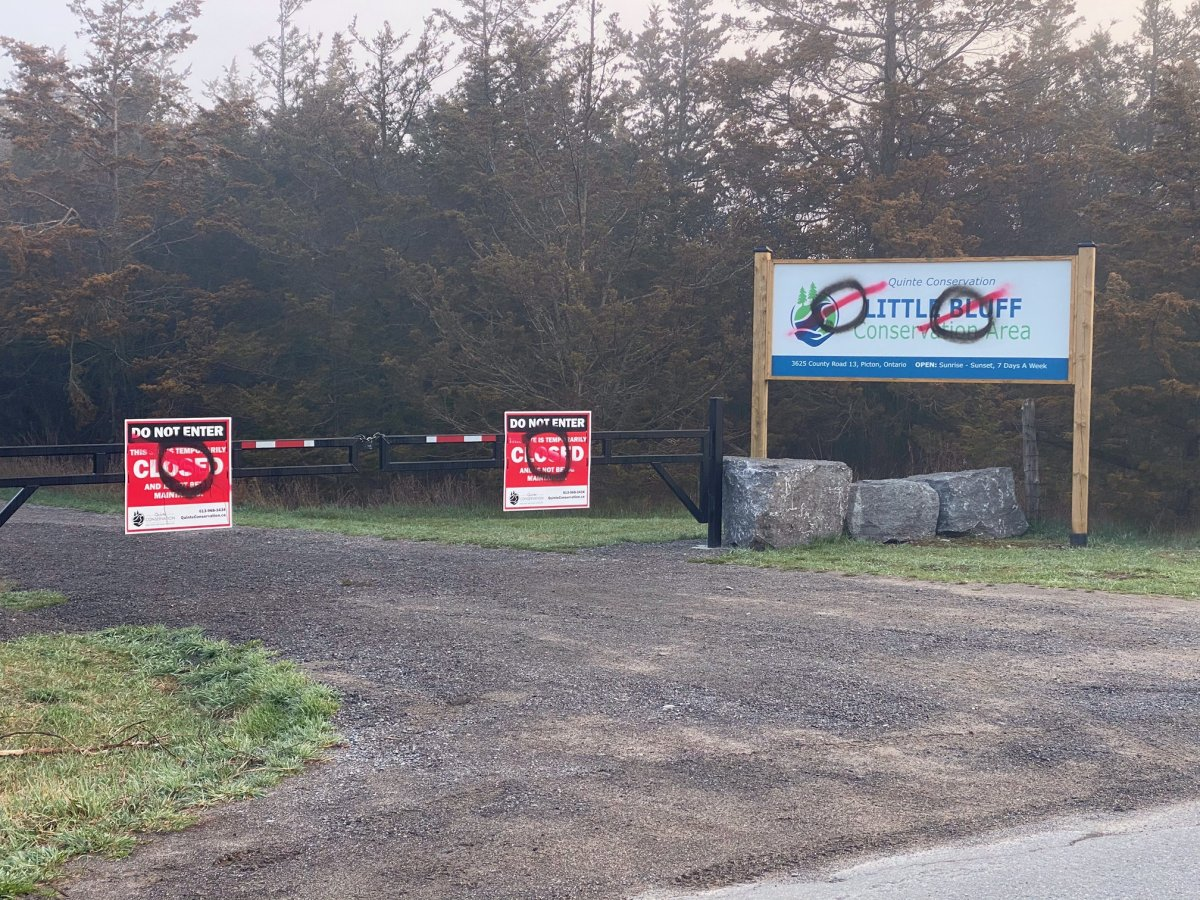 Quinte Conservation says new signs it put up as part of the rehabilitation of Little Bluff Conservation Area have been vandalized.