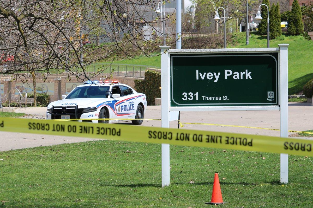 Police on scene in Ivey Park on April 30, 2021.