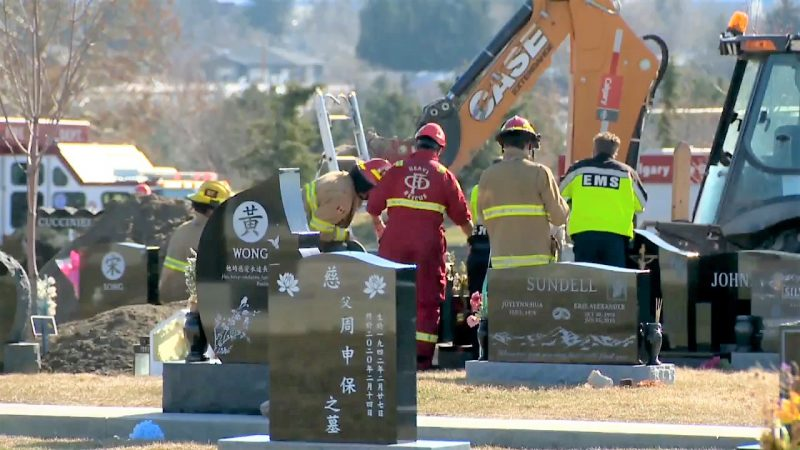 Emergency crews respond to Queen's Park Cemetery in northwest Calgary on Monday, April 26, 2021.