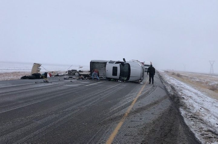 A truck rolled over Monday on the Trans Canada Highway.