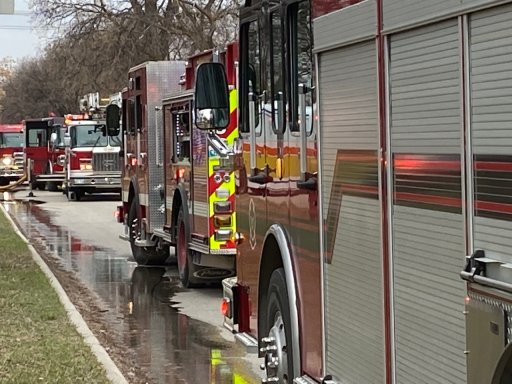 WFPS vehicles at the scene of a house fire.