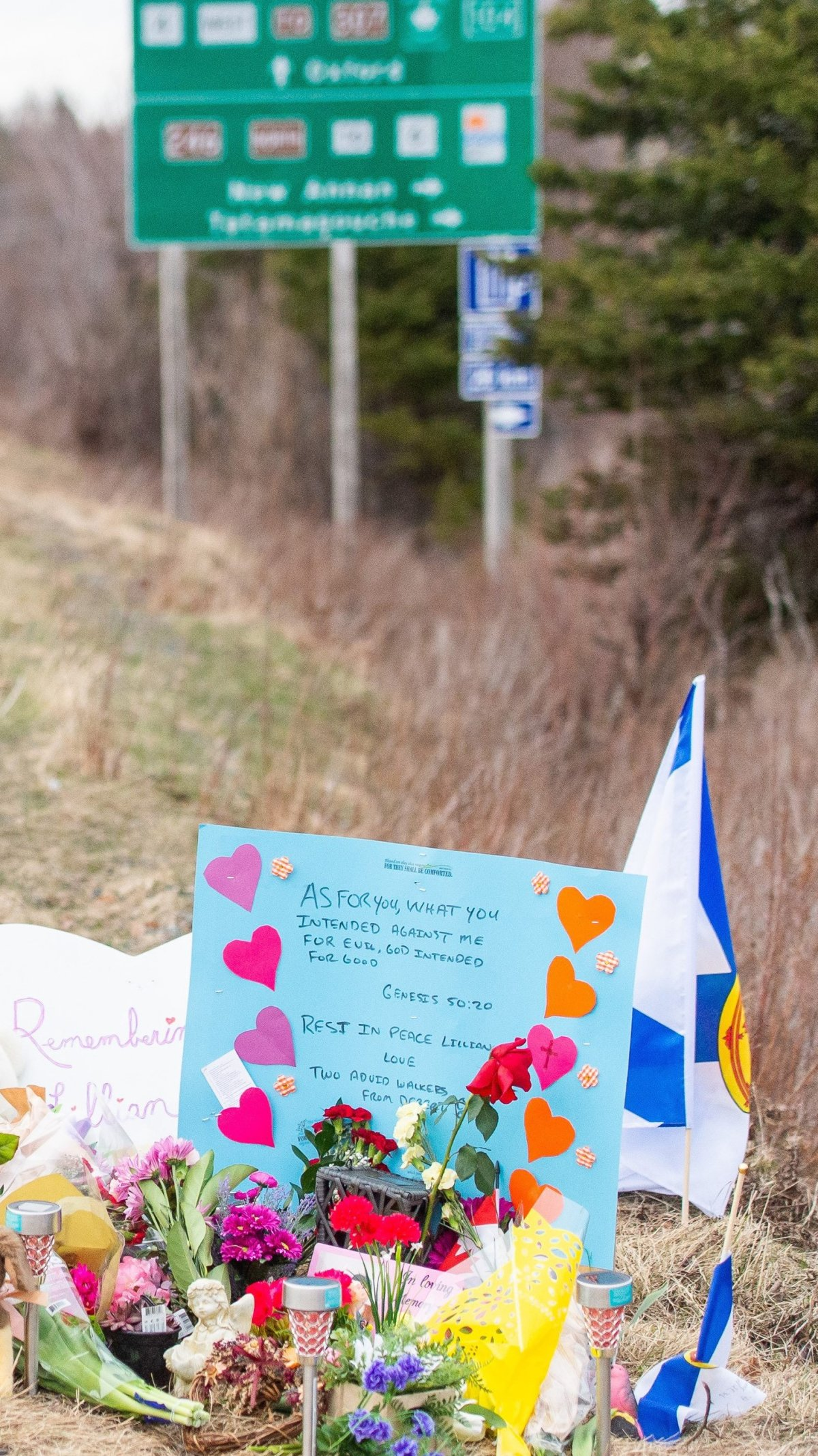 A memorial remembering Lillian Hyslop is seen along the road in Wentworth, N.S. on Friday, April 24, 2020. 22 people are dead after a man went on a murderous rampage in Portapique and several other Nova Scotia communities. THE CANADIAN PRESS/Liam Hennessey.