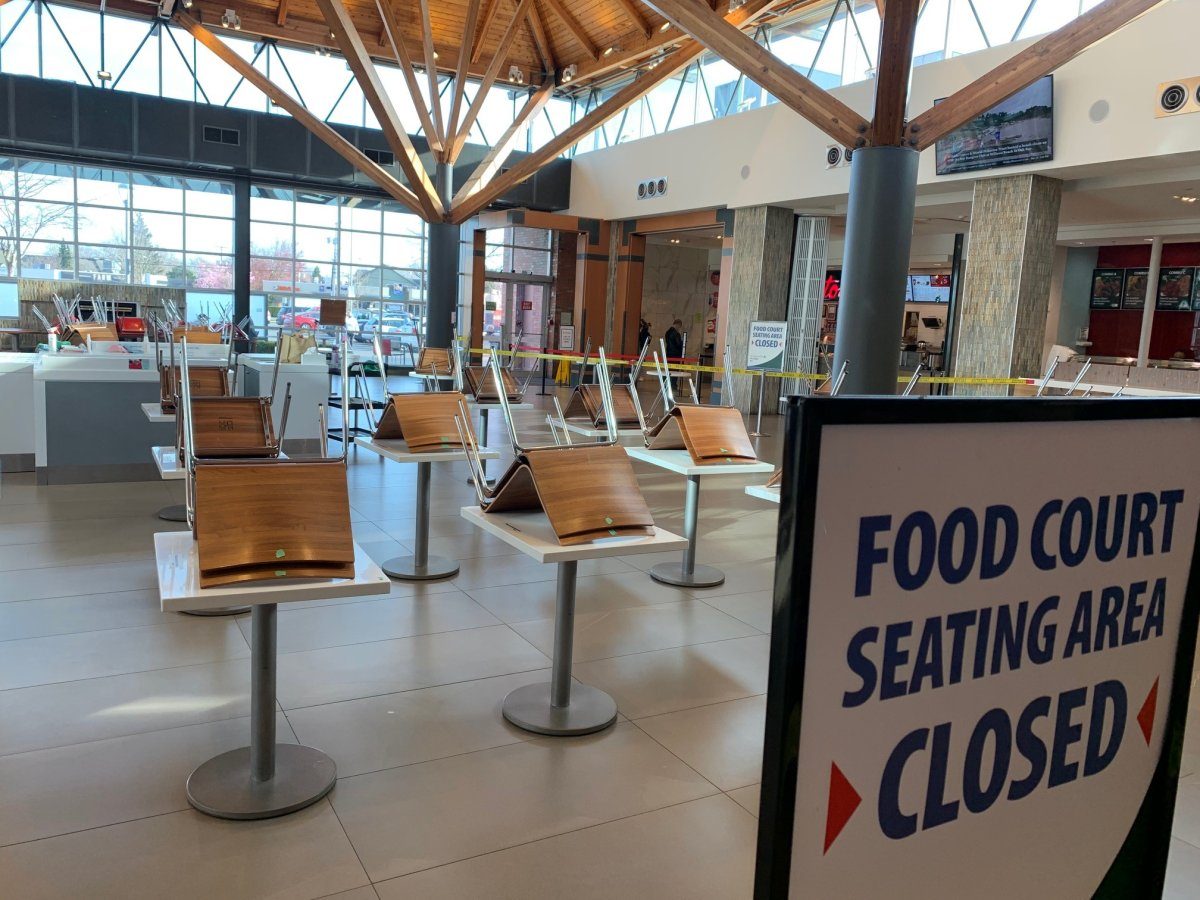The Hillside Mall in the Victoria food court is closed for in person dining.