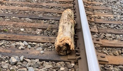 Debris was found tossed on rail tracks just west of Port Hope on Tuesday.