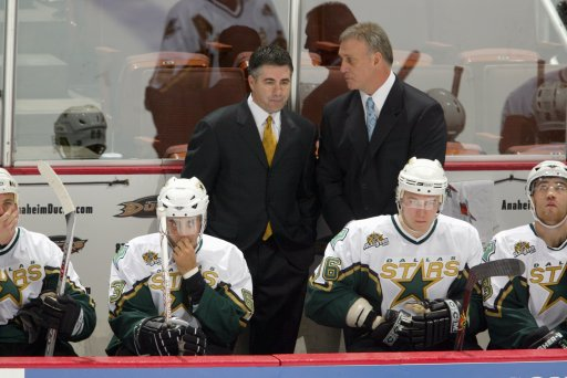 Head coach Dave Tippett and associate coach Rick Wilson of the Dallas Stars look on from the bench against the Anaheim Ducks at the Honda Center on October 15, 2006, in Anaheim, California.